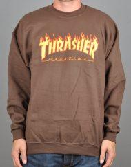 Thrasher Flame Logo crewneck, brown